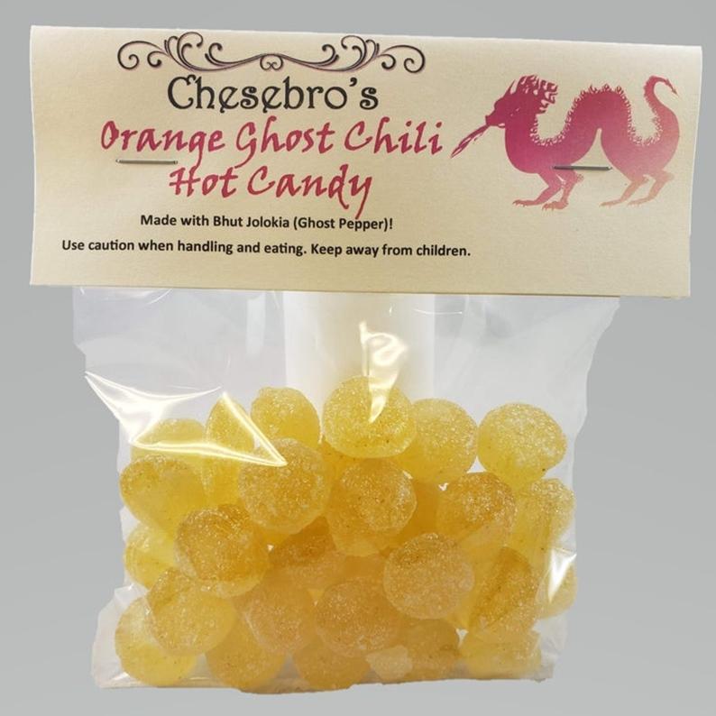Orange Ghost Chili Hot Hard Candy